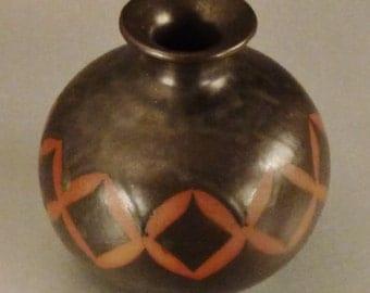 VASE Moderne STUDIO Ceramic JAPAN  Brown and range colors app 5x3x2 geometric design