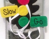 SALE Felt  traffic light quiet book page children practice matching light colors with words #87