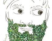 """Peas Beard Unique Vegetable Art Unique Food Art Manly Beard Mustache Art Unique Kitchen Art Gift for Him 5"""" x 7"""" Watercolor Pen and Ink"""