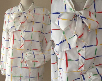 Vintage White Blouse, Secretary Mad Men Top, multi colored shirt, 70's / 80's vintage