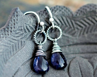 ON SALE Iolite Earrings, Drop Earrings, Drop Earrings, Sterling Silver, Blue Gemstone, Silver Earrings, PoleStar, Indigo, Crystal Earrings