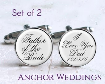 Father of the Bride Cufflinks, Father of the Groom Cufflinks, Set of 2 Wedding Cufflinks for Dad, Wedding Gift for Dad, Personalized PC003
