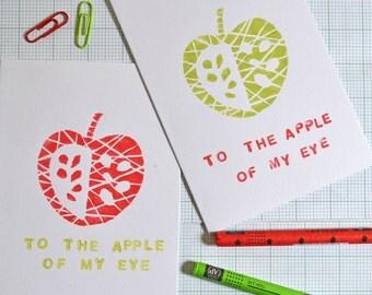 apple of my eye handprinted linocut card