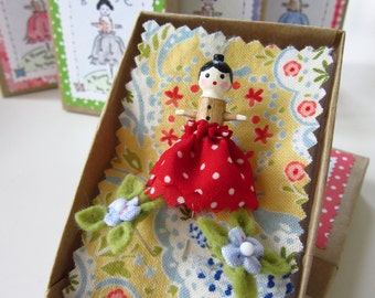 PINELOPE - A Pinny Wooden Doll Pin Topper with Two Itty Bitty Blossoms - Dressed in Red with Polka Dots