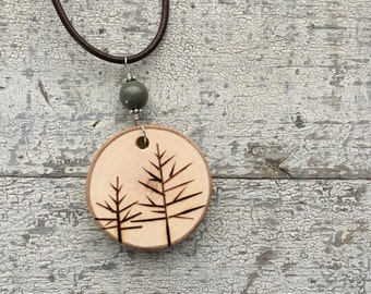 Maple Branch Woodburned Tree Pendant on Leather Cord Necklace with Gemstone