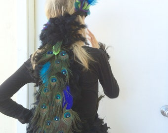 Peacock and Ostrich Feather Headdress Costume Headpiece - CUSTOM MADE