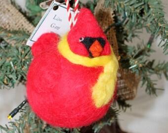 Cardinal Ornament, Felted Cardinal Ornament, Wet Felted and Needle Felted Fat Cardinal Ornie #1246