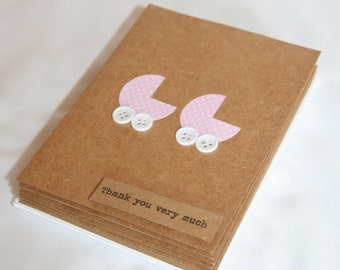 Twins Baby Shower Thank You Cards - Twins Thank You Cards - Thank You Cards - Baby Shower Cards - Pink Thank You Cards - 10