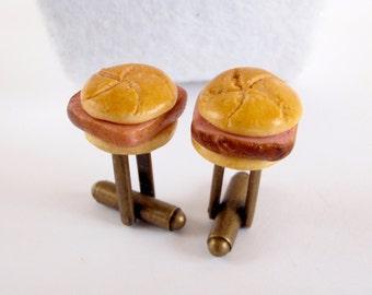 German Meat Loaf Sandwich Cufflinks - German Collection - Miniature Food Art Jewelry by Schickie Mickie 100% handmade
