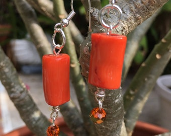 Orange Bamboo Earrings