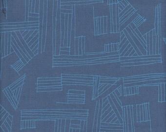 Robert Kaufman Carolyn Friedlander Euclid Essex Linen/Cotton Hustle in Cadet  - Half Yard