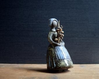 Jie Gantofta Sweden, Swedish Pottery Woman Figurine, Dried Flower Posy Holder, Design Elsi Bourelius