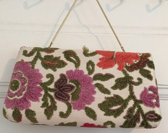 Needlepoint Clutch Bag Convertable Handbag Floral Needlepoint Purse Made in USA Red Rose Gold Green Floral Tapestry Handbag with Coin Purse