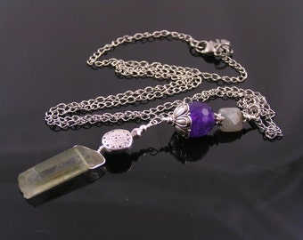 Crystal Wand Necklace with Green Moss Quartz, Amethyst and Labradorite, Healing Necklace, Crystal Jewelry