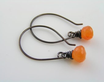 Carnelian Earrings, Handmade Wire Wrapped Earrings, Gem Jewelry, Gem Earrings, Orange Earrings, Carnelian Jewelry