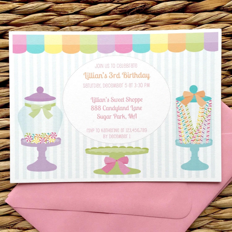 Candy shoppe invitation, sweet shop birthday, candy shop birthday ...