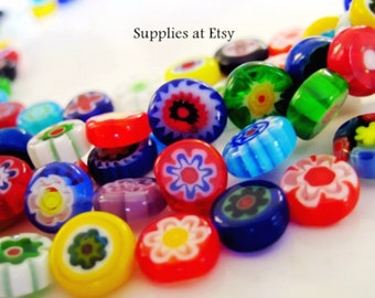 SALE- Millefiori Flat coin Glass Beads-Italian Floral beads-Strand Millefiori Flat round glass bead-multicolored millefiori bead-Evil eye