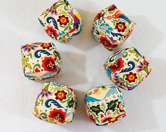 MOVING SALE Folk Art Cube Pillow Square Stuffed Toy Plush 3D Cubes Gift Set of 6 Last One