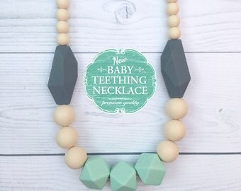 Free Shipping in Canada - Silicone Baby Teething Necklace - Silicone Nursing Necklace - Breastfeeding Necklace - Mint, Cream and Grey