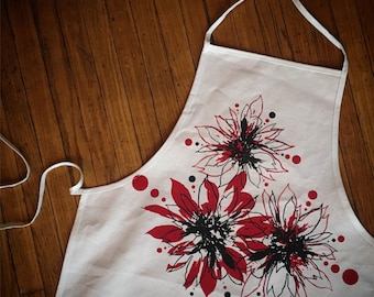 Winter Poinsettia, Hand Printed Holiday Kitchen Apron in Unbleached Cotton Canvas