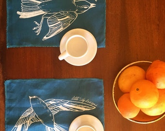 LAST SET! Fly Away Sparrow Placemats in 2-Sided Linen - Set of Two