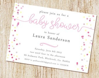 Baby Shower  Invitations - Digital File or PRINTED CARDS- Sip and See Invitation - Sip & See - girl baby shower - confetti dots.jpg