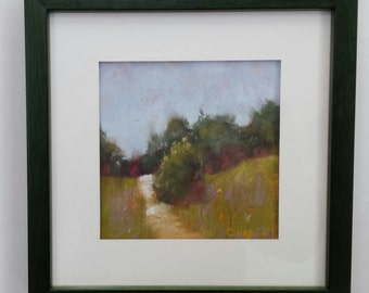 """Small Original Pastel Painting, Landscape, Image 5 x 5"""", Framed 8 x 8"""", Wall Art, Ready to Hang"""