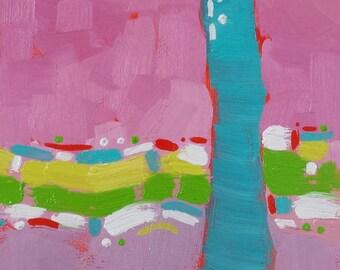 "Small Original Mixed Media Painting, Abstract, 5 x 5 panel, 4 x 4"" image, Unframed, Wall Art"