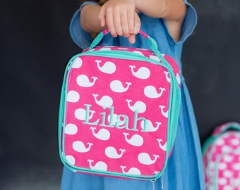 Whales Lunch Bag-includes Monogram-Insulated Lunch Bag-Insulated Cooler-Lunch Box