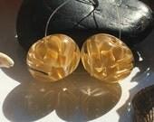 Handmade Lampwork Glass Beads SRA Pumpkin Harvest Bloom Pair Encasement Florals (2)