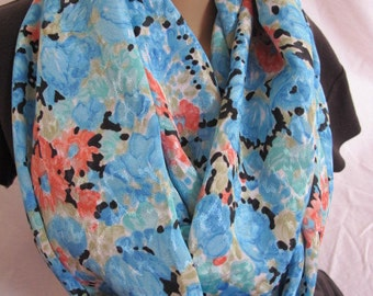 Beautiful Blue Floral Cowl/Circle Scarf/Infinity Scarf (5101)
