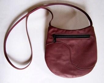 Burgundy Leather Purse - Crossbody Style Festival Bag - Marsala Medium Round Flat Handbag