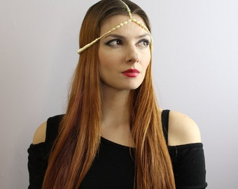 Boho Hippie Pearl Crown Wedding Hair Head Dress Jewelry  Gift