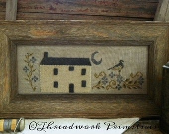 Primitive Cross Stitch Pattern - Nightingale's Garden