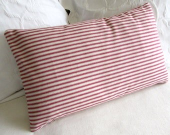 french ticking decorative Pillow 12x20 includes insert red stripes