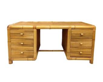 Free Shipping Vintage Large Palm Beach Rattan 6 Drawer Executive Desk