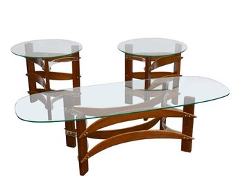 Mid Century Modern Curved Wood & Lucite Coffee and Side Table Set Pearsall Kagen Style