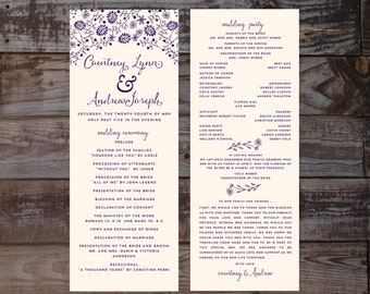 Wedding Programs, Wedding Program Template, Wedding Ceremony Programs, Printable Wedding Programs, Navy Wedding Programs, Floral Programs