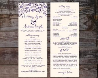 Wedding Programs, Wedding Program Template, Wedding Ceremony Programs, Printable Wedding Programs, Navy Wedding Programs, Floral Programs