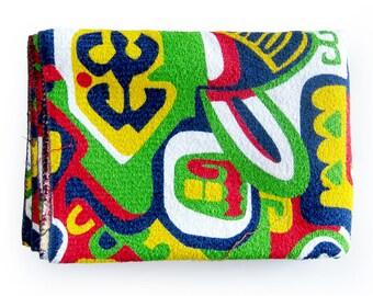 VINTAGE Tiki Print Terrycloth Fabric - TERRYCLOTH - Red Green Navy Yellow