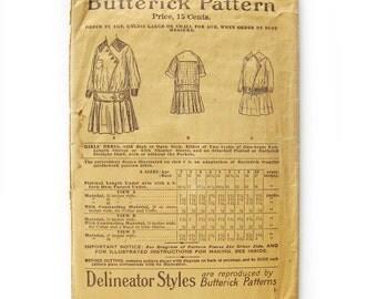 1890's Edwardian Girls Dress / Butterick Sewing Pattern #9439 / Delineator Styles Girls Antique Dress / Sailor Collar Dress / Age 2