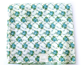 1950s Vintage Fabric - Floral Cotton Print - Blue Roses 100% Cotton Yardage