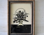 1930s art decor Hand Process on Glass Butterfly Wing Effects glass framed flower bouquet