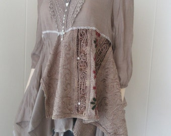 Lagenlook Boho Tunic Guinnevere Inspired Rayon Crepe Lace Velvet Floral Embroidered Recycled Eco Chic Size S - M