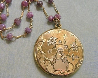 Beautiful Antique Edwardian Locket Necklace, Gold Filled Locket Wire Wrapped With Pink Silverite and 14K Gold Filled Chain (N249)