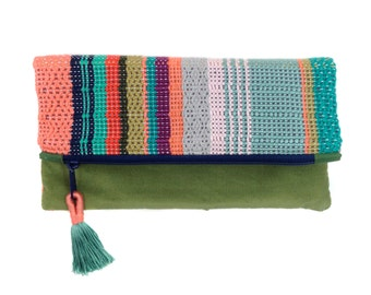 Talia | Handwoven Colorful Boho Chic Clutch | Striped Woven Foldover Purse | Coral and Mint Modern Bag | Modern Patterned Woven Evening Bag