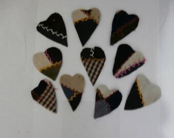 VINTAGE CRAZY QUILT Hearts for Crafting Destash