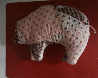 VINTAGE QUILT PIG Pincushion or Pillow from Vintage Patchwork Quilt  Free Shipping