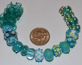 Destash - Aqua Mix of Lampwork Glass Beads (20 beads)