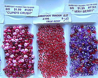 BEADS, CZECH,  6/0 ,Pink, Rose,, GLASS, Seed,  Rocailles, 6/0, Spacer,  Mix, 36 Inch, Crystal, I